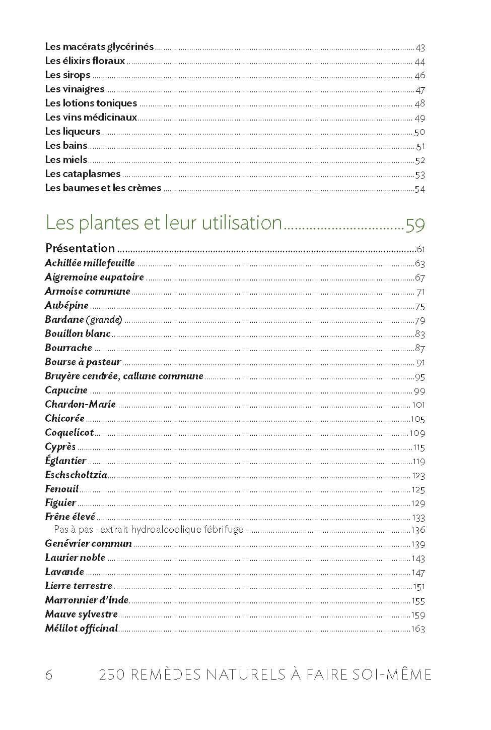 SPLAN – 250 remèdes naturels à faire soi-même – sommaire 2