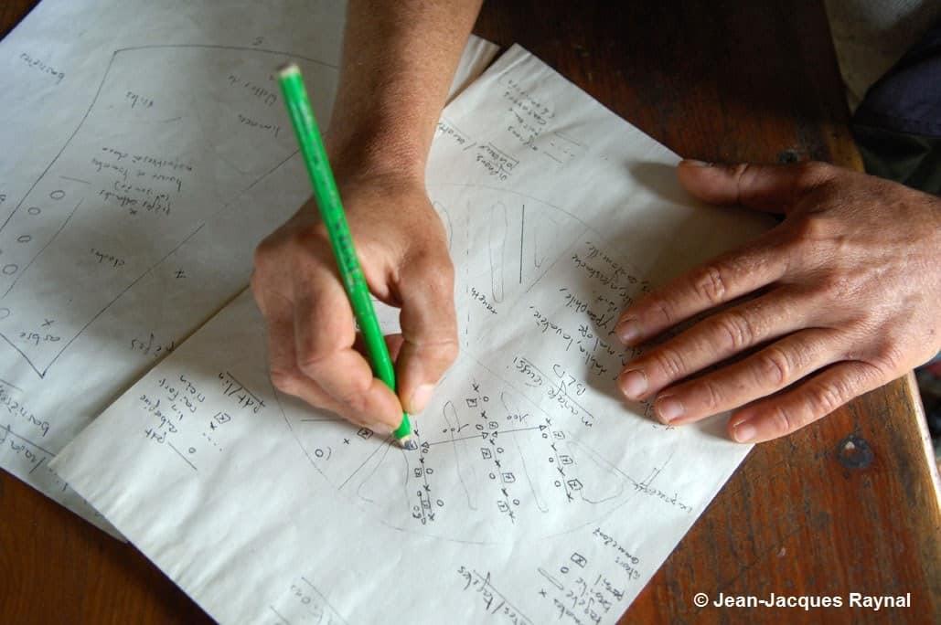 Une main qui écrit sur une feuille de papier