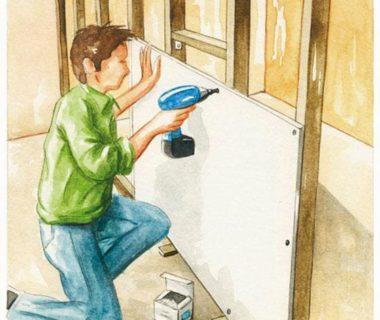 Illustration d'une homme entrain de visser le bloc porte contre le tasseau vertical
