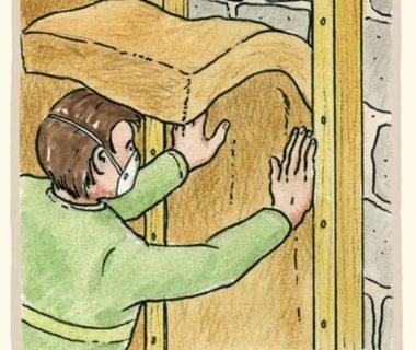 Illustration montrant la mise en place de l'isolant entre deux tasseaux