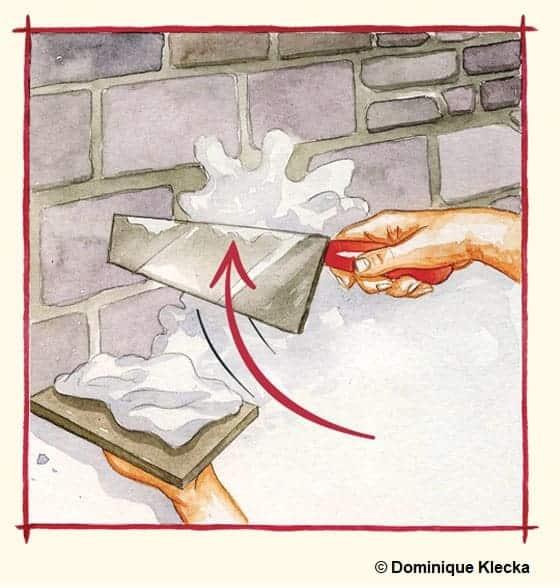 Illustration de l'application à la truelle d'un gobetis