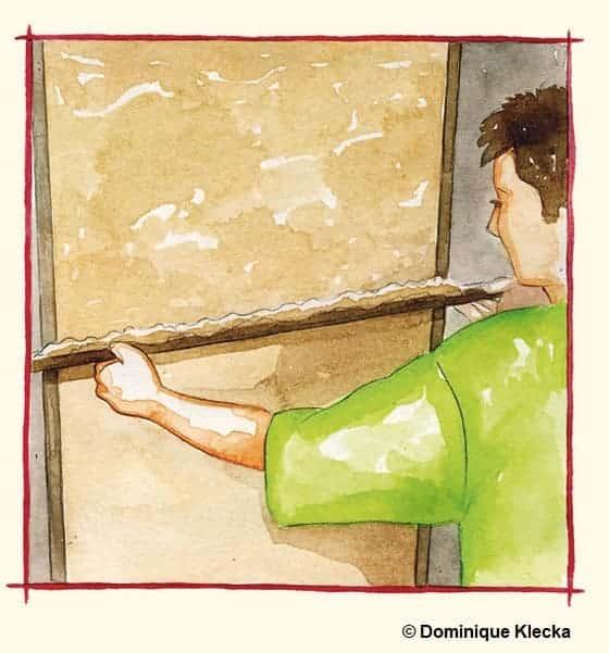 Illustration d'un maçon entrain de passer la lisseuse sur l'enduit chaux-chanvre