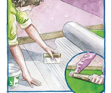 Illustration montrant comment étaler la colle avec une spatule, poser le lé et maroufler avec un rouleau à pâtisserie