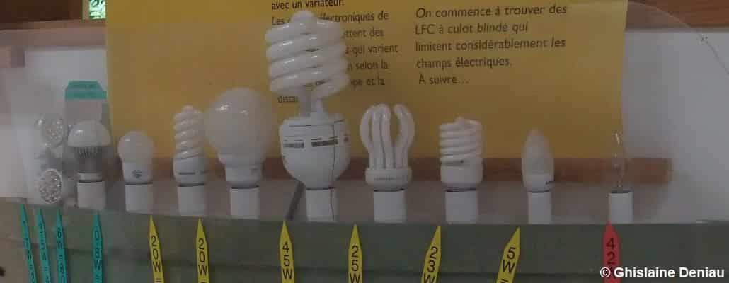 Alignement de différentes ampoules, petites et grandes