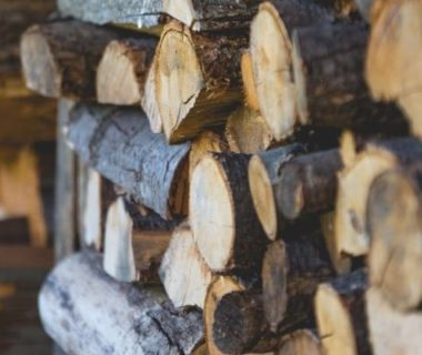 Bûches de bois empilées
