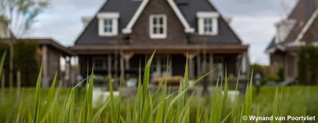 De l'herbe au premier plan et une maison flouée en arrière plan