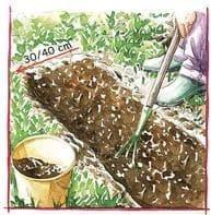 Dessin du jardinier qui travaille le sol à la fourche