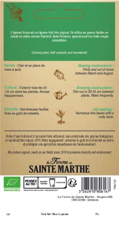 Graines Epinard fraise bio – Ferme de Sainte Marthe 1