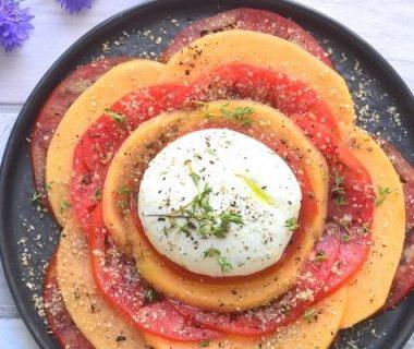 Carpaccio melon et tomate mozzarella du Buffalo
